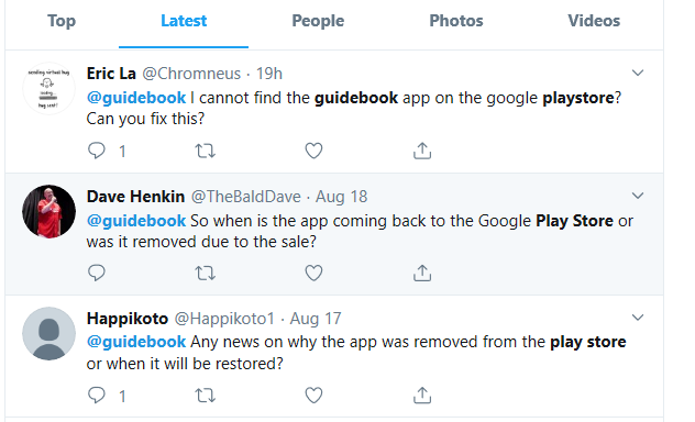 Bemused customers take to Twitter in search of Guidebook apps removed from the Play Store