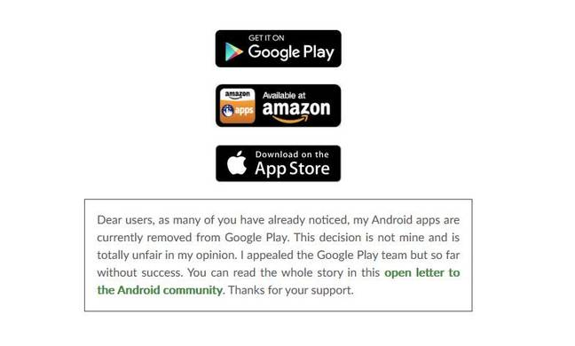 Patrick Godeau informs customers that his apps have been removed from the Play Store