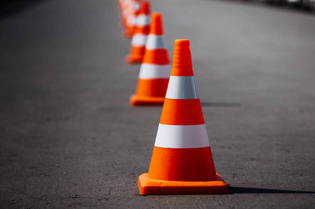 Traffic cones in the road