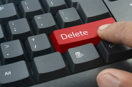 A delete key on the keyboard