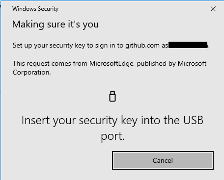 Securing a GitHub account with a physical security key