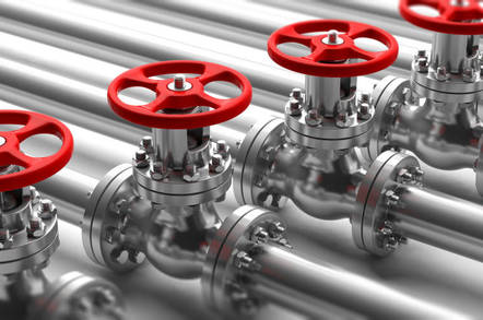 Industrial valves on a pipeline