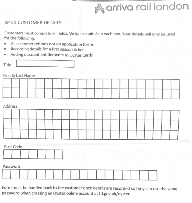 Oyster plain text password form from Arriva Rail London, which operates London Overground