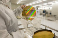 A generic silicon wafer in a fab plant