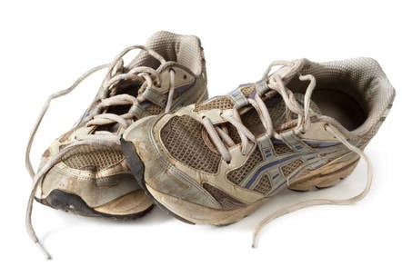 A worn pair of running shoes