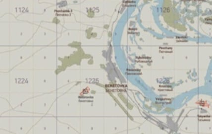 Screenshot of grid 1225 from the Volga map of Il-2 Sturmovik: Battle for Stalingrad