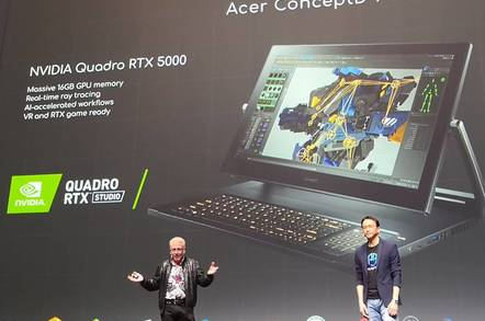 NVidia VP Bob Pette on stage with Acer CEO Jason Chen to present the ConceptD 9 Pro luggable