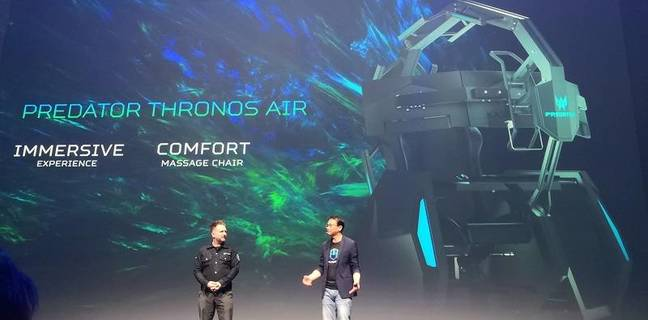 The Acer Thronos Air gaming chair presented on stage by CEO Jason Chen