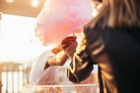 woman buys cotton candy cloud