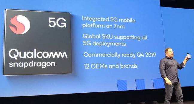 Qualcomm president Cristiano Amon announces a 5G integrated modem at IFA in Berlin