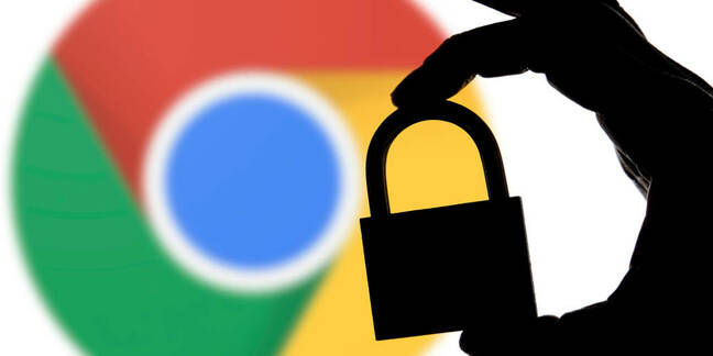 Chrome logo behind a padlock silhouette