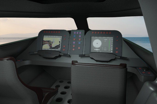 The Victa submarine's controls. Mockup image supplied by Subsea Craft