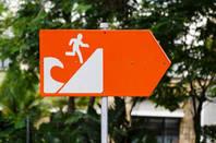 warning sign in tidal wave zone in indonesia
