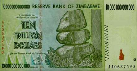 10 trillion dollar Zimbabwean bank note