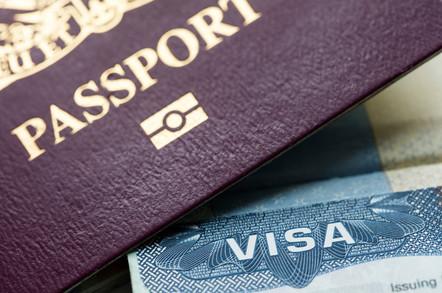 Visa document and passport