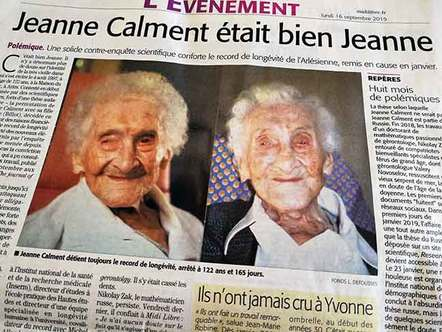 Jeanne Calment in the Midi Libre 16 Sep 2019