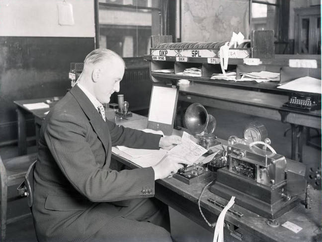 Staffer working Morse machine, 1934. Picture courtesy of BT Heritage & Archives