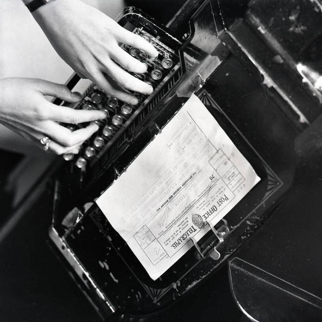 Staffer working Teleprinter, 1934. Picture courtesy of BT Heritage & Archives