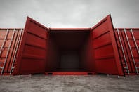 An open shipping container