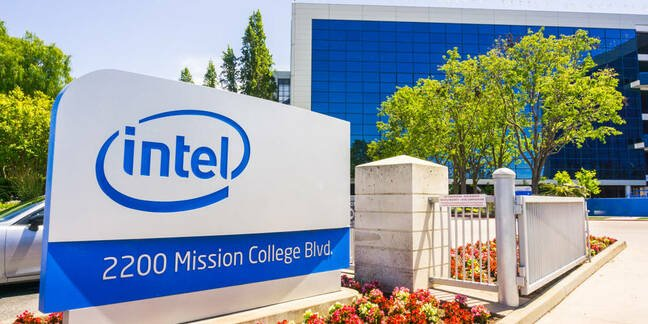 Outside an Intel building with its logo