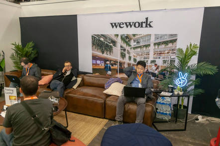 People sitting on a couch in WeWork