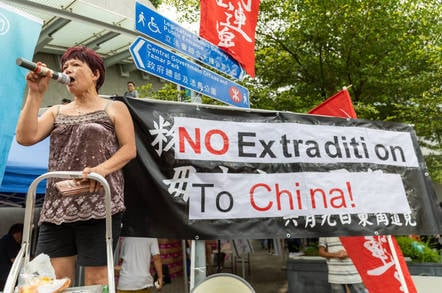 A Hong Kong protest unhappy with looming Chinese rule