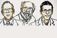 Artist illustrations of the Nobel Physics Prize winners. Left to right: James Peebles, Michel Mayor, and Didier Queloz. Image credit: Ill. Niklas Elmedhed and Nobel Media.