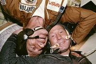 Astronaut Donald Slayton and cosmonaut Alexei Leonov together in the Soyuz Orbital, 1975