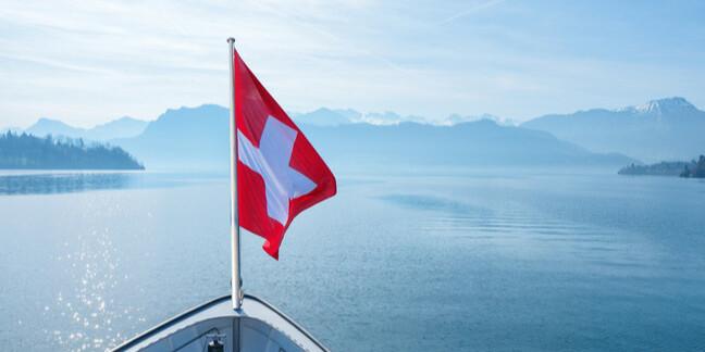 Swiss flag flying on boat