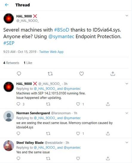 Users tweeting about BSOD issues with Symantec's security software