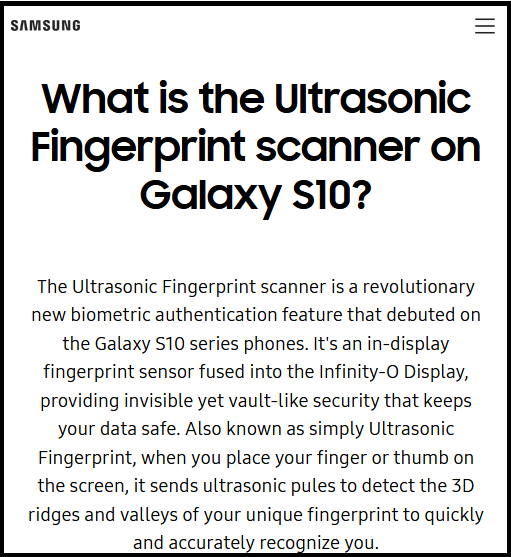 Samsung's pitch for its revolutionary ultrasonic fingerprint reader