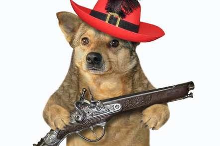 Dog in hat with pistol
