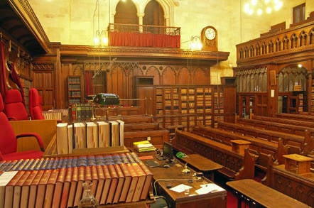 Interior of Court 4 at the Royal Courts of Justice, London