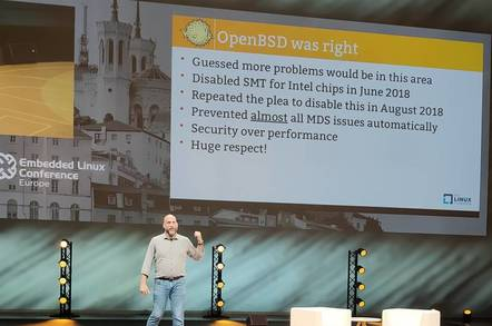 Greg Kroah-Hartman describes security issues runing Linux on Intel CPUs