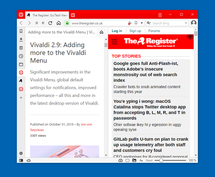 The Vivaldi web browser showing the web panel feature