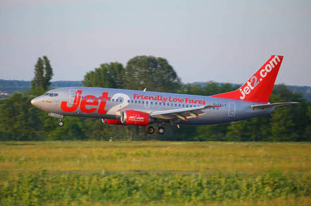 Plane operated by Jet2.com (low-cost airline based in Leeds) takes off at Budapest Liszt Ferenc Airport, 2015.