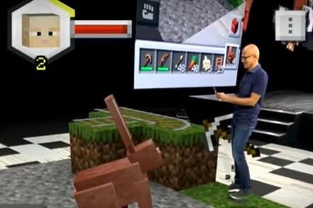 Satya Nadella in Minecraft Earth
