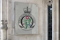 The Supreme Court logo outside the old Middlesex Guildhall. Pic: Gareth Corfield for The Register