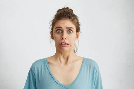 A woman panicking