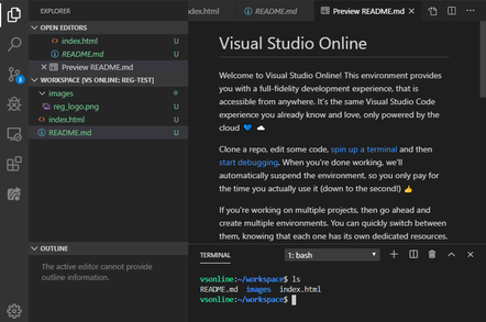 Visual Studio Online lets you connect to an development environment on Azure