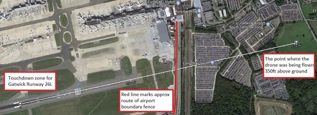 Annotated image showing key ground features for the Gatwick drone airprox