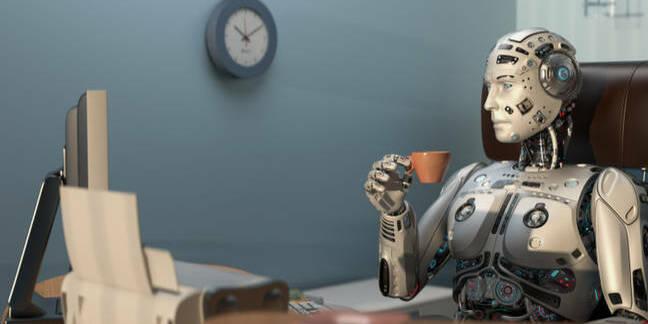 rookie speeling error... tsktsk - robot drinks tea in front of monitor...