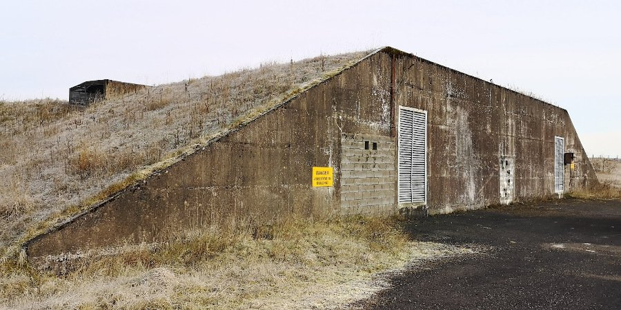 Access doors to the Greymare site control bunker, now blocked. Note the earthworks