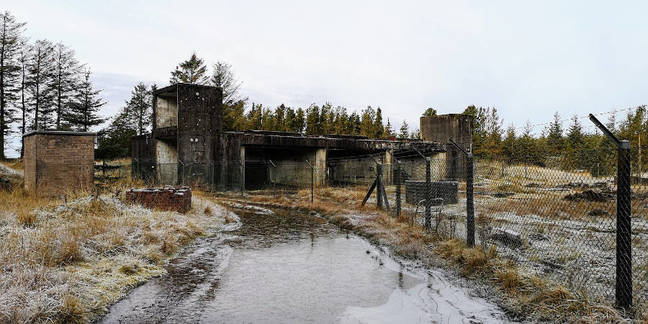 The turbo-pump test cells at Rushy Knowe. Note the fence, barbed wire and flooded, frozen access road. Not visitor friendly
