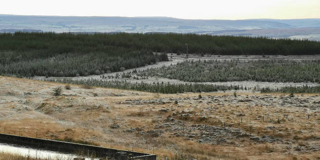 View from Greymare Hill over Cheese Burn and Whipper Slack, site of the U1 prototype hot-launch silo