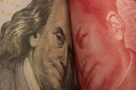US and Chinese currency facing off