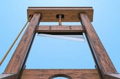 Looking up at guillotine