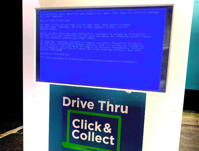 BSOD at the Drive-thru at Asda
