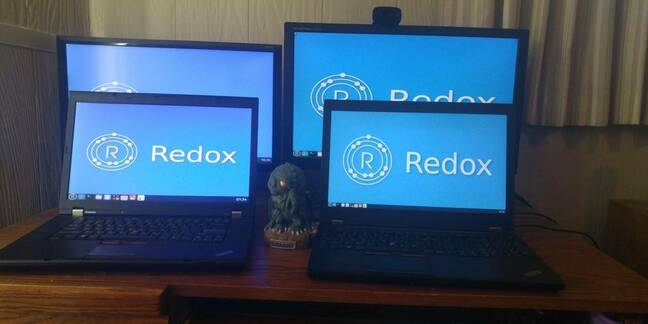 Laptops running Redox, a new operating system written in Rust