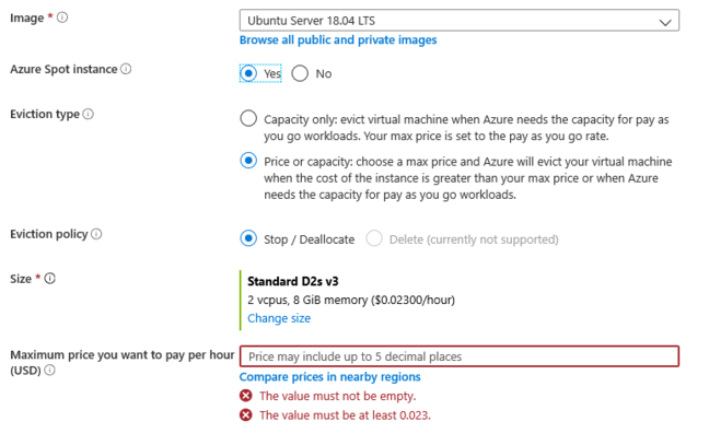 Specifiying a Spot VM type and maximum price